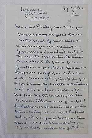 Lettre autographe de George Sand à François: SAND George (BULOZ