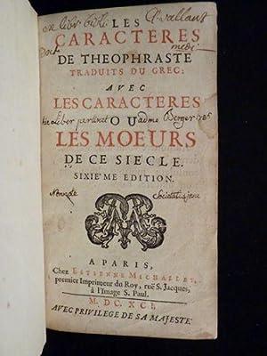 Les caracteres de Theophraste traduits du grec: LA BRUYERE Jean