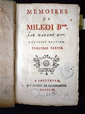 Memoires de Miledi B***. Par Madame R***: RICCOBONI Marie-Jeanne