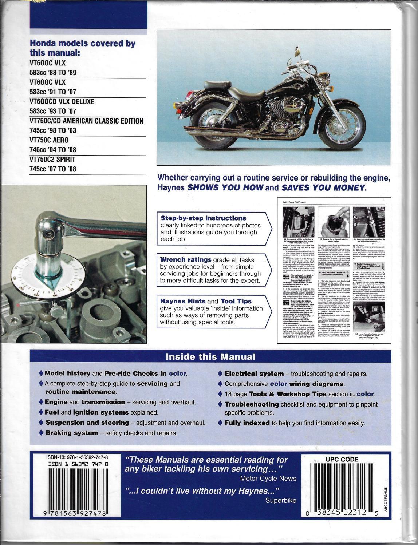Honda Shadow VT600 & 750: '88 to '08 (Haynes Service & Repair