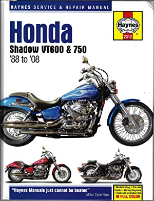 Honda Shadow VT600 & 750: '88 to '08 (Haynes Service & Repair Manual)(english)