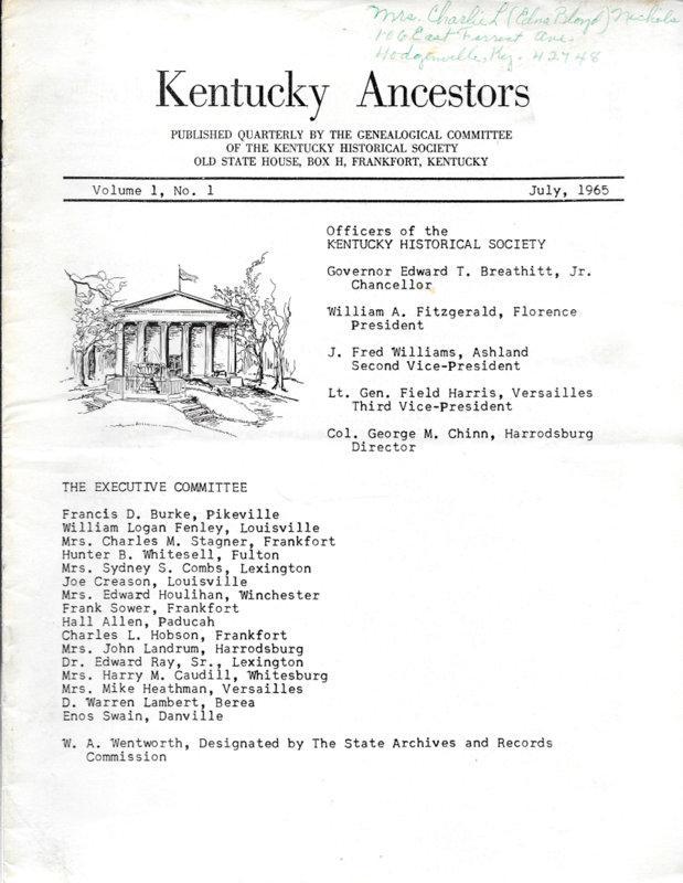 Kentucky Ancestors By Fitzgerald Anne Abebooks