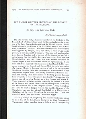 THE OLDEST WRITTEN RECORDS OF THE LEAGUE OF THE IROQUOIS.: Campbell, John.