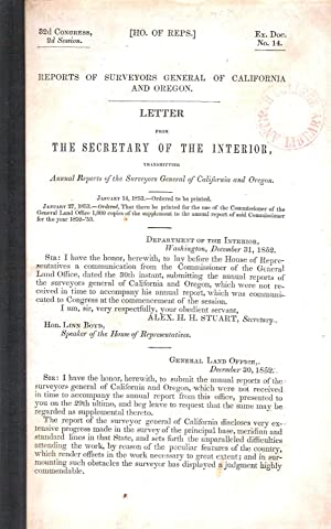 LETTER FROM THE SECRETARY OF THE INTERIOR TRANSMITTING ANNUAL REPORTS OF THE SURVEYORS GENERAL OF ...