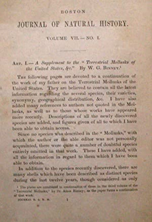 SUPPLEMENT TO THE TERRESTRIAL MOLLUSKS OF THE UNITED STATES.: Binney, W. G.