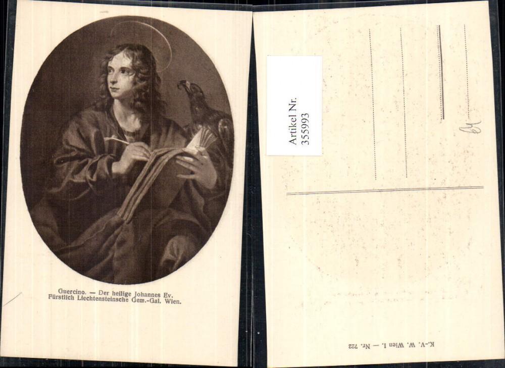 355993,Künstler Ak Guercino Der heilige Johannes Ev. Adler Schreiben Buch Religion