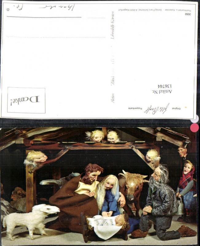 136744,Puppen Elli Riehl 2050 Spielzeug Jesuskind Krippe Bethlehem Engel Heilige Familie Stall