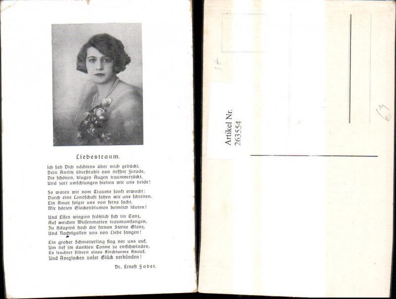 263554,Künstler Ak Frau Portrait Text Liebestraum v. Ernest Faber