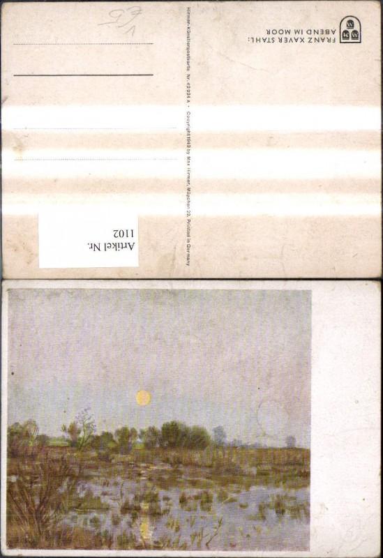 1102,Künstler Ak Franz Xaver Stahl Abend i. Moor pub Hirmer 42224 A