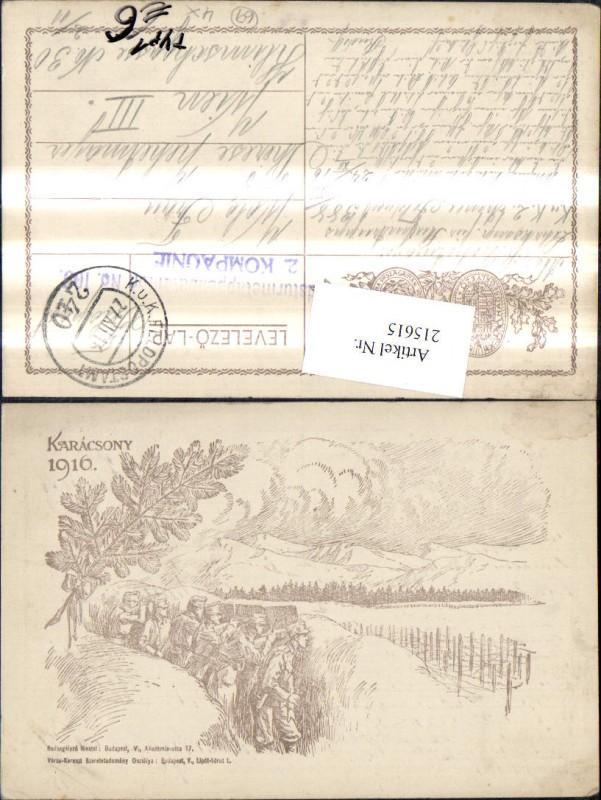 215615,Künstler Ak Bleistiftzeichnung K.k. Soldaten Stellung Schützengraben Karacsony 1916 Feldpost 240 Typ 1