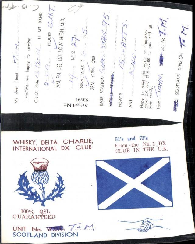 Schottland Karte Whisky.93791 Qsl Cb Karte Scotland Schottland
