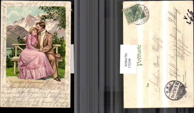 172199,Litho O Maienzeit o Liebestraum Frau Mann a. Bank Bergkulisse pub Paul Fink