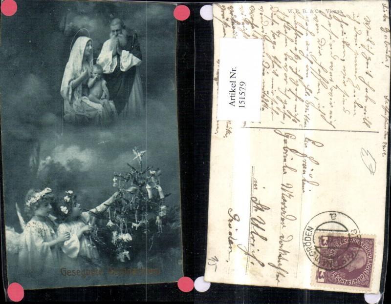 151579,Weihnachten Foto Ak Fotomontage Kinder Engel Weichnachtsbaum Christbaum Hl Familie Jesuskind Heiligenschein