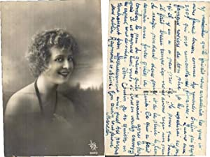 EROTIC FRENCH SMILING FLAPPER GIRL CURLY HAIR