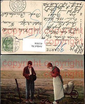 411954,Künstler Ak Millet L Angelus Betende Bauern