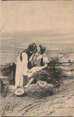 Fec. Ch. Scolik Bauern Liebespaar küsst sich