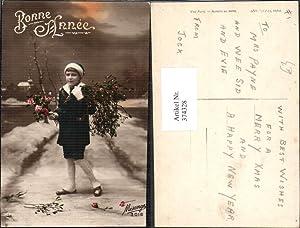 374328,Kind Bub Junge Haube Strauß Rosen Mistel