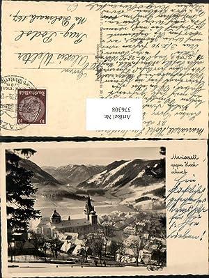 376308,Mariazell Teilansicht Kirche geg. Hochschwab Bergkulisse Winterbild