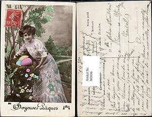 362036,Frau Kleid Korb m. Eier Ostereier Joyeuses