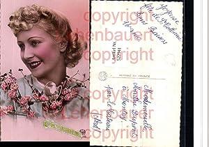 522941,Foto-AK Art Deco Style Frau Blumen pub