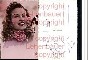 522942,Foto-AK Art Deco Frau Rosen Blumen