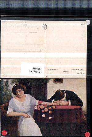 321668,Künstler AK J. Marek Vorm Abschied Paar