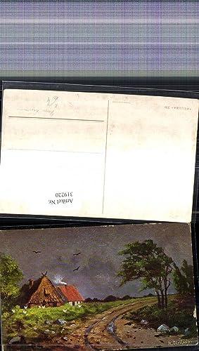 319220,Künstler Ak Hugo Lissmann Häuser Reetdachhaus Straße