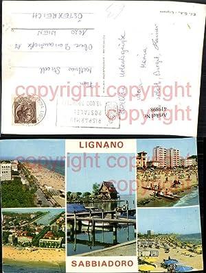 419898,Friuli-Venezia-Giulia Udine Lignano Sabbiadoro Strand Strandleben Mehrbildkarte