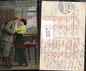 408870,WW1 Soldat Uniform Pickelhaube Kuss Frau Liebe