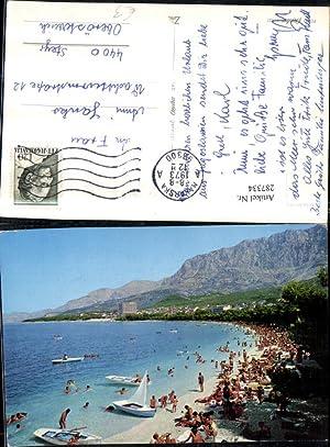 287334,Makarska Teilansicht Strand Strandleben Bergkulisse