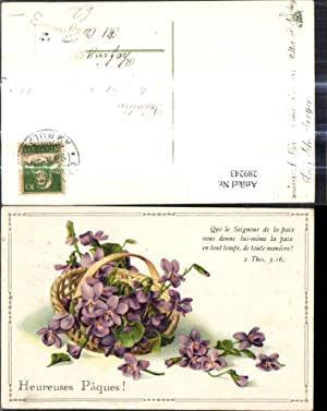 289243,Blumen Veilchen Korb Test Spruch Heureuses Paques