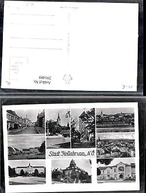 291489,Hollabrunn Totale Kirche Turm Straßenansicht Schloss Mehrbildkarte