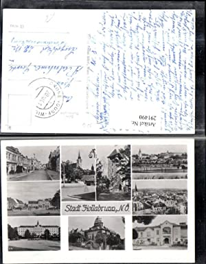 291490,Hollabrunn Totale Kirche Turm Straßenansicht Schloss Mehrbildkarte