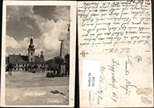 361268,Kaplice Kaplitz Ringplatz Straßenansicht Obelisk Rathaus pub