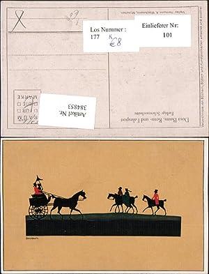 384853,Künstler AK Scherenschnitt Silhouette Dora Baum Renn-