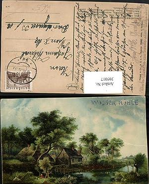 395017,Künstler AK Meindert Hobbema Wassermühle Mühle pub