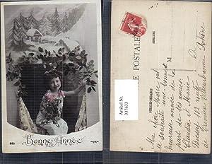 337633,Kind Mädchen m. Mistel Winterlandschaft Passepartout Bonne