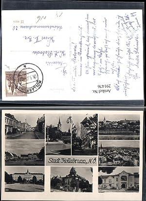 291476,Hollabrunn Totale Kirche Schloss Turm Straßenansicht Mehrbildkarte