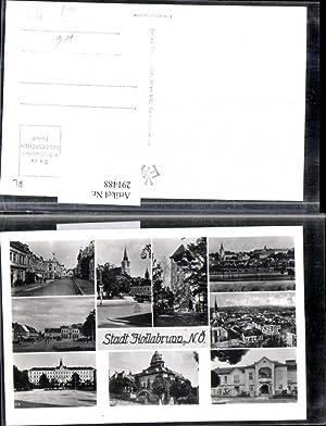 291488,Hollabrunn Totale Kirche Turm Straßenansicht Schloss Mehrbildkarte