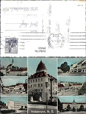 296421,Hollabrunn Kirche Gymnasium Straßenansicht Gebäude Mehrbildkarte