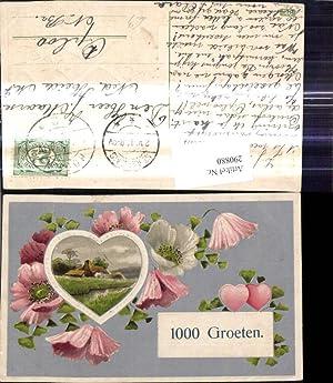 290880,Präge Ak Haus Landschaft Herz Passepartout Blumen