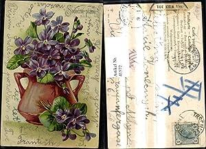 41572,Präge Ak Blumen Vase m. Veilchen Srdecne