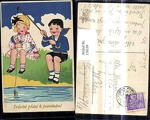 178139,Künstler Ak Kinder m. Puppen Angeln Fischen