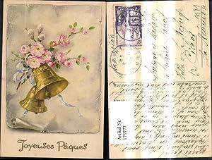 179777,Künstler Ak Glocken Blumen Palmkätzchenzweig Schleife Papierrolle