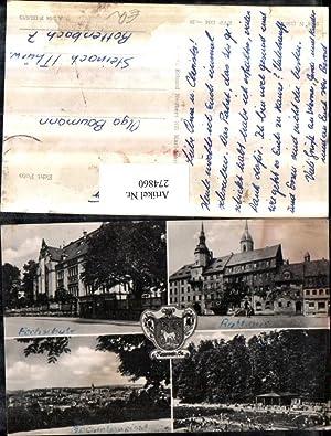274860,Roßwein Totale Rathaus Fachschule Gebäude Freibad Mehrbildkarte