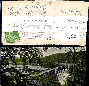268267,Talsperre Diemeltalsperre m. überlaufendem Wasser Stempel Bahnpost