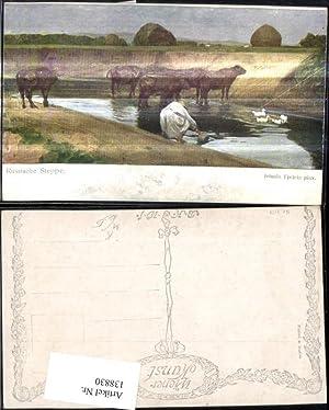 138830,Künstler Ak Jehudo Epstein Russische Steppe Rinder