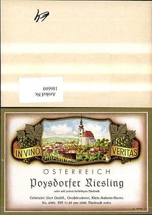 186660,Wein Sekt Reklame Flaschenetikett Poysdorfer Riesling Poysdorf