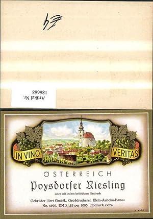 186668,Wein Sekt Reklame Flaschenetikett Poysdorfer Riesling Poysdorf