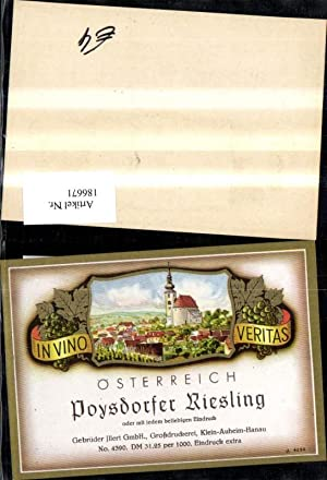 186671,Wein Sekt Reklame Flaschenetikett Poysdorfer Riesling Poysdorf